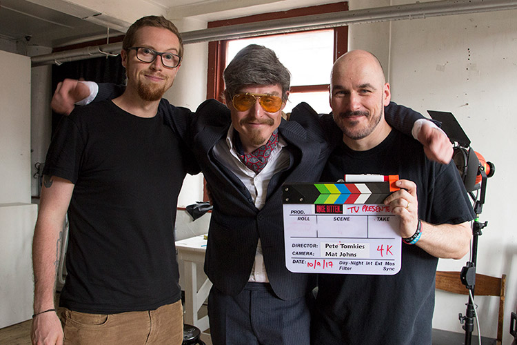 [L to R] Cinematographer Mat Johns, Sir Dickie Benson & director Peter Tomkies wrapping day 1 of Once Bitten...