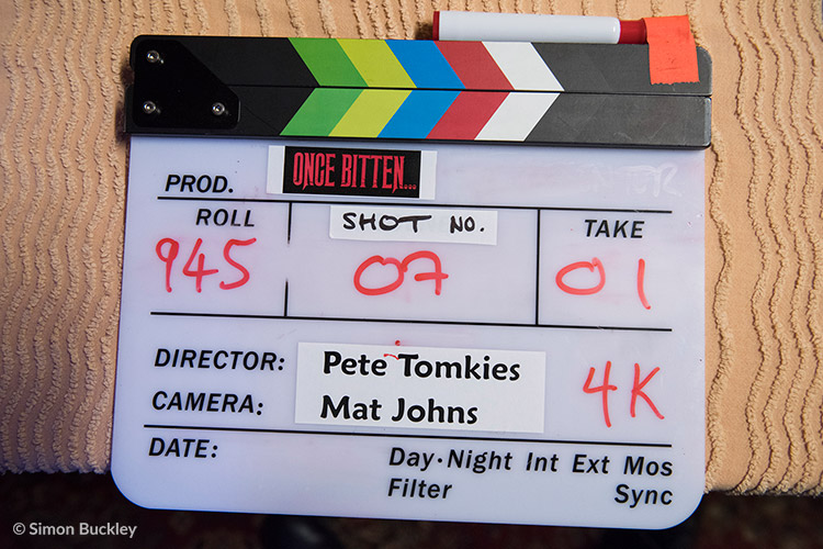 The slate for Once Bitten... ready for the first shot on the hote room set at A4 Studios in Altrincham.