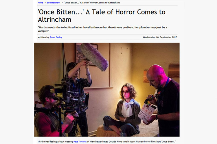 A Tale Of Horror Comes To Altrincham! Once Bitten… director Pete Tomkies was interviewed by Anne from So Altrincham earlier this month.