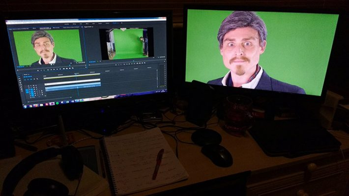 In the edit suite with the one and only Sir Dickie Benson