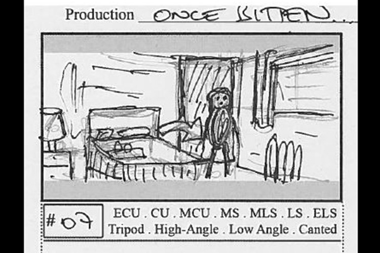 Once Bitten... director Pete Tomkies' original storyboard for this scene