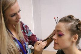 Make-up artist Charlotte Maclaine getting Lauren Ashley Carter ready for her first day on set as Martha Swales