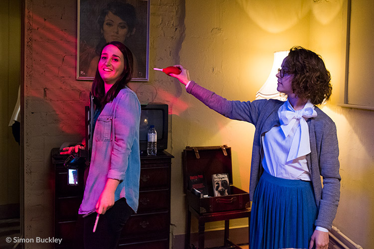 Every film set should have two Laurens! Producer Lauren Prendergast (left) with Lauren Ashley Carter as Martha Swales