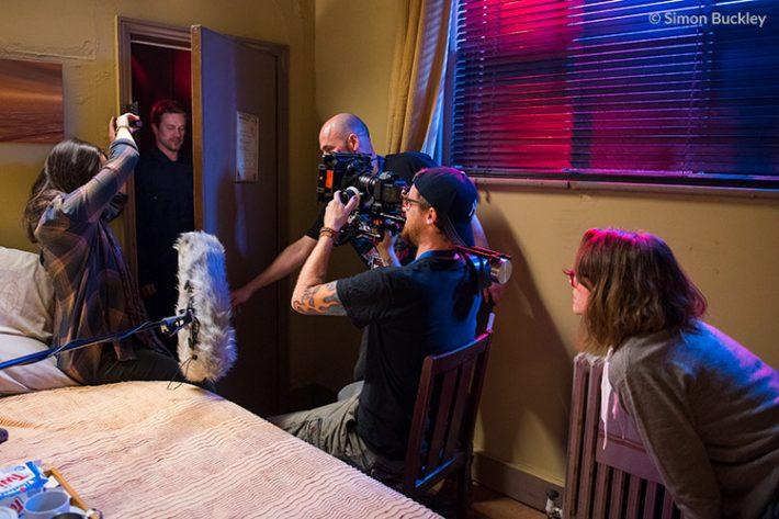 [L to R] Producer Lauren Prendergast, Garth Maunders as Dredvoka, director Pete Tomkies, cinematographer Mat Johns and Lauren Ashley Carter as Martha Swales