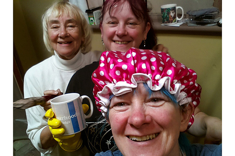 Melanie Robbins (centre) with Norma Bell (left) and Debbie Tomkies (bottom) taking a break during set decorating for Once Bitten… set at A4 Studios