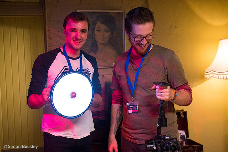 Camera assistant Sam Ridgway (left) with cinematographer Mat Johns on the Once Bitten… set at A4 Studios