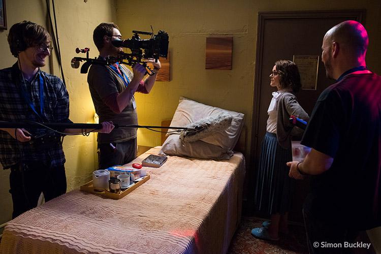 Thurston Thomson (left) on set with Mat Johns, Lauren Ashley Carter & Pete Tomkies