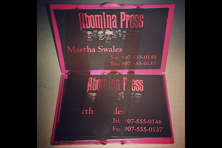 Martha Swales' blood-stained business cards