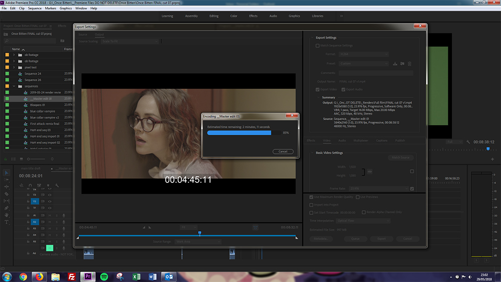 The picture locked final cut being rendered out from Adobe Premiere Pro