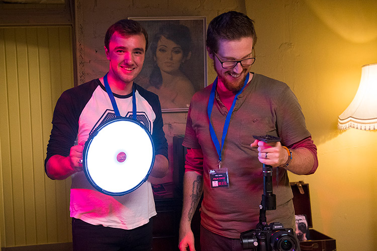 Camera assistant Sam Ridgway getting ready to trigger the CineSFX™ lightning on the Rotolight AEOS while cinematographer Mat Johns shoots a gimbal sequence