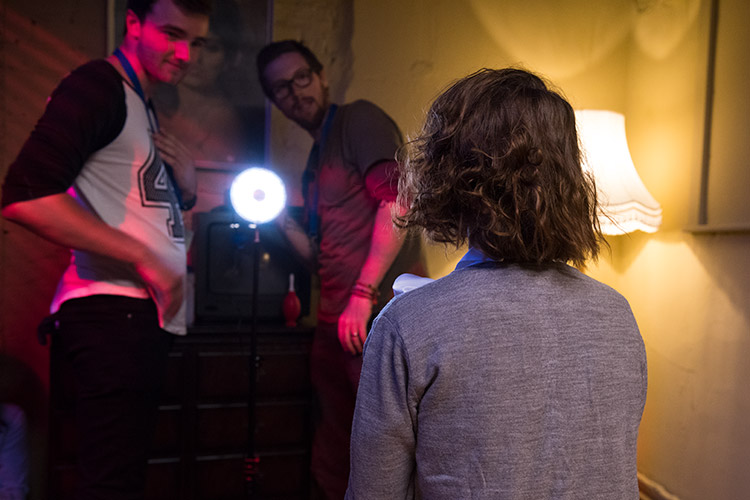 Cinematographer Mat Johns and camera assistant Sam Ridgway setting up the CineSFX™ on the Rotolight Neo to provide the flicker of a TV screen on lead actor Lauren Ashley Carter