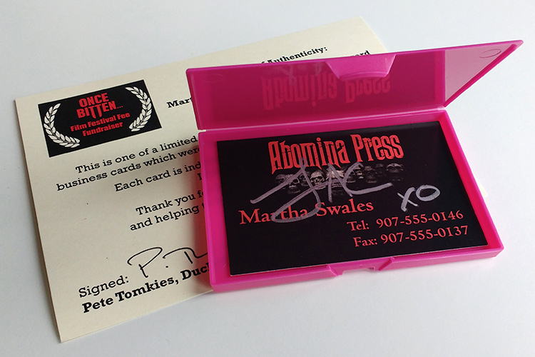 Martha Swales prop business card signed by Lauren Ashley Carter