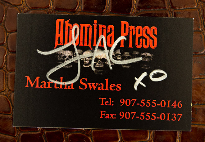 Martha Swales' business card prop as featured in Once Bitten… signed by Lauren Ashley Carter!